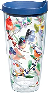 Tervis 1208411 Watercolor Songbirds Insulated Tumbler with Wrap and Blue Lid, 24oz, Clear