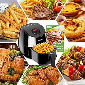 AIGEREK Air Fryer, Touch Screen Digital Air Fryer & Insulted Basket Handle, Fry Healthy With 80% Less Fat, Black/3.7QT…