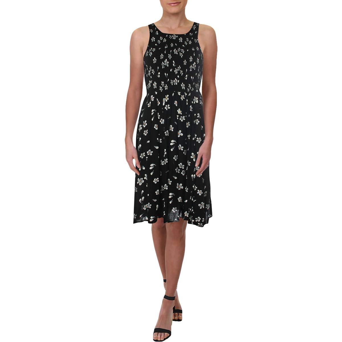 Black Aqua Womens KneeLength Floral Print Casual Dress