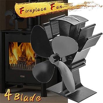 CRZJ Ventilador de Estufa Alimentado por Calor, 4 Palas, para leña/Estufa de leña/Chimenea - Distribución de Calor eficiente y ecológica (Negro): Amazon.es: Deportes y aire libre