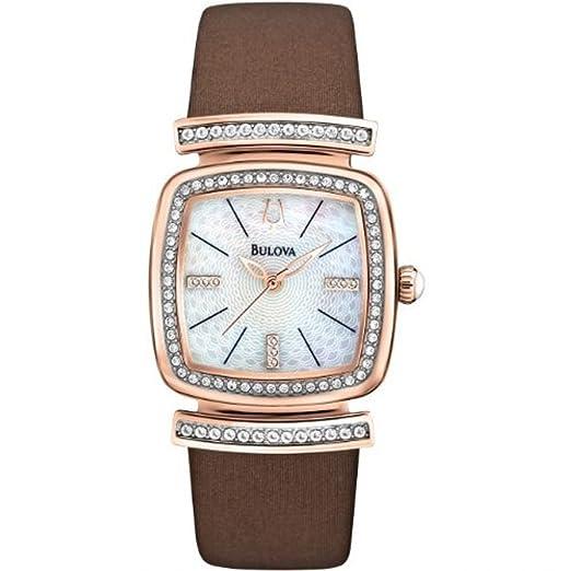 111c0de17 Amazon.com: Bulova Ladies Rose Tone Stainless Steel Dress Watch ...