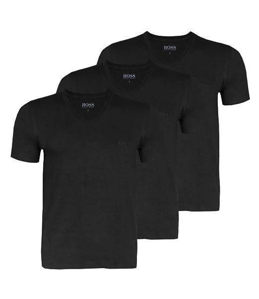 Hugo Boss 3 Pack Cotton Classic V-Cuello de la Camiseta, Monocromo, Camisa