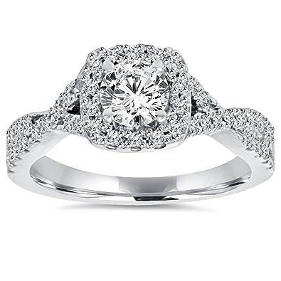Amazon.com: 1 CT Cojín de Halo anillo de compromiso de ...
