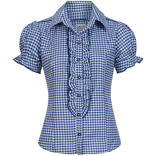 Gaudi-leathers Womens Shirt Ronda Blue Checkered Size 44 -
