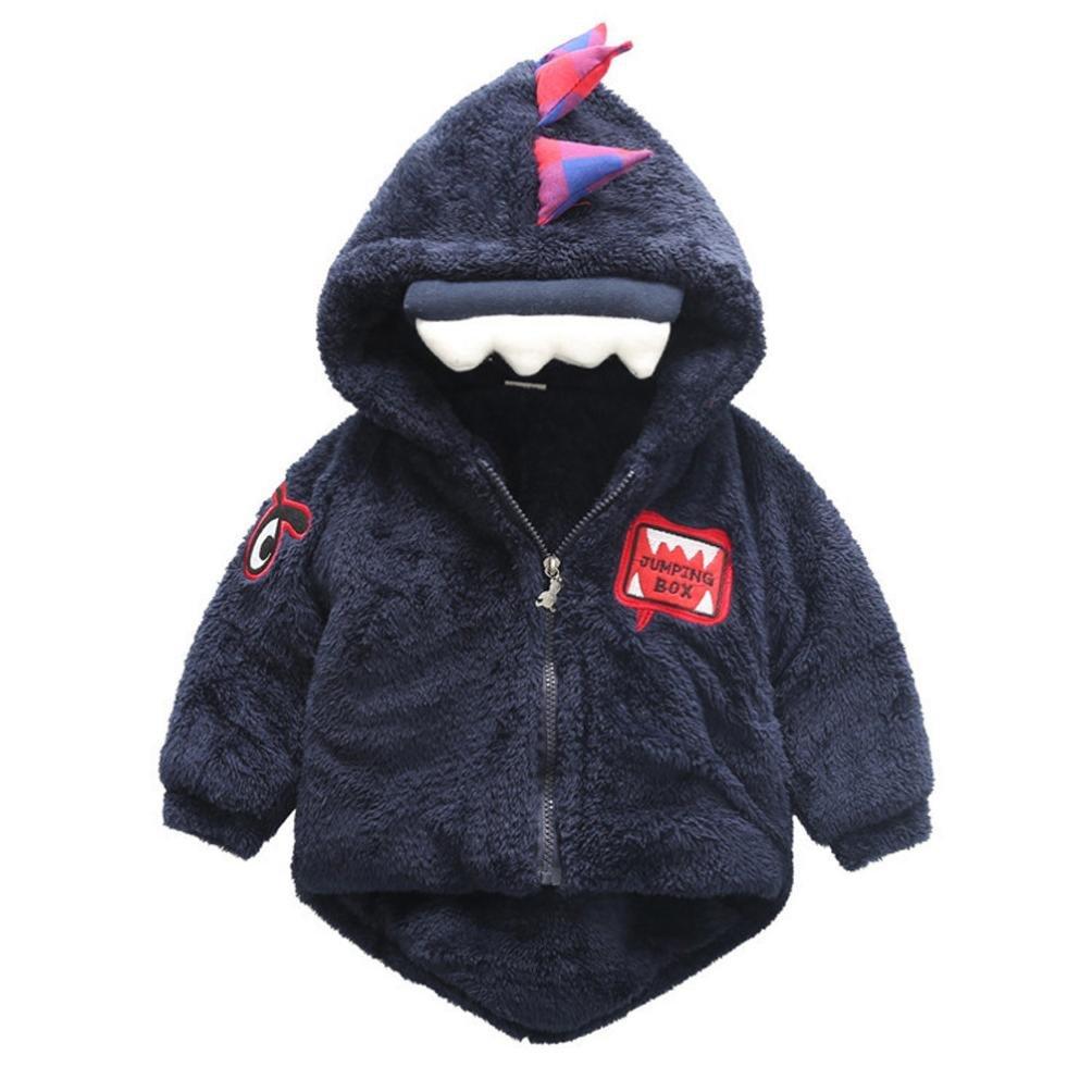Baby Winter Coat, Egmy Cute Baby Infant Girls Boys Dinosaur Hooded Coat Cloak Jacket Thick Warm Clothes (18M, Dark Blue)
