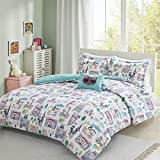 Comfort Spaces Girls/Boys Bedding Full/Queen Size - Paco, Cats, Eiffel Tower 3 Piece Cute Toddler/Kids Comforter Set - Aqua - Hypoallergenic Microfiber - All Season