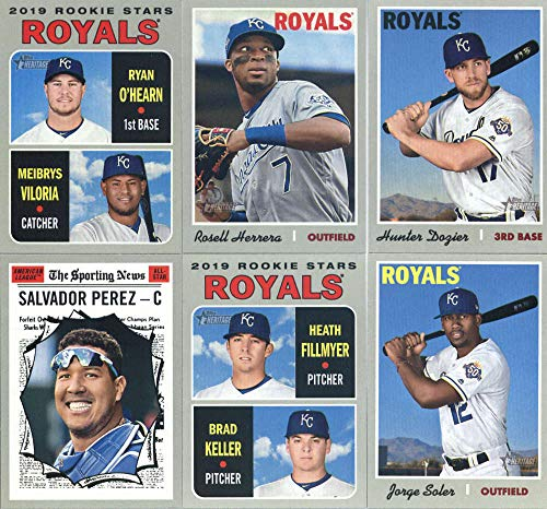 2019 Topps Heritage Baseball Kansas City Royals Team Set of 12 Cards: Jake Junis(#16), Danny Duffy(#37), Adalberto Mondesi(#89), Alex Gordon(#108), Billy Hamilton(#115), Jorge Soler(#165), Whit Merrifield(#187), Hunter Dozier(#222), Meibrys Viloria/Ryan -