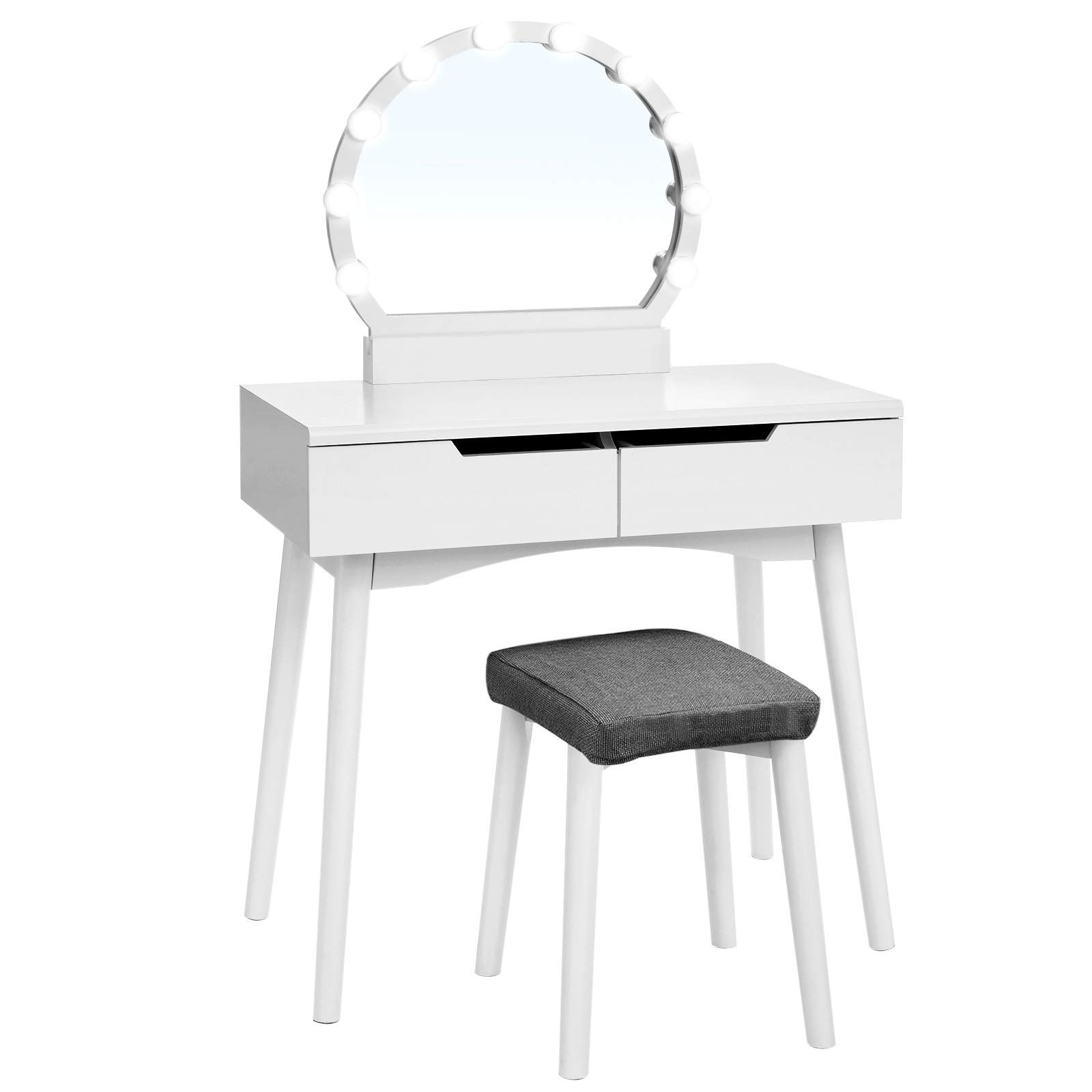 VASAGLE Vanity Table Set with 10 Light Bulbs and Touch Switch, Dressing Makeup Table Desk with Large Round Mirror, 2 Sliding Drawers, 1 Cushioned Stool for bedroom, bathroom, White URDT11WL