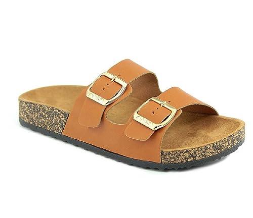 65dd0a898cee Amazon.com  Women s Flat Casual Soft Cork Slides Sandal Double Adjustable  Buckle Strap Slip on Summer Shoes  Shoes