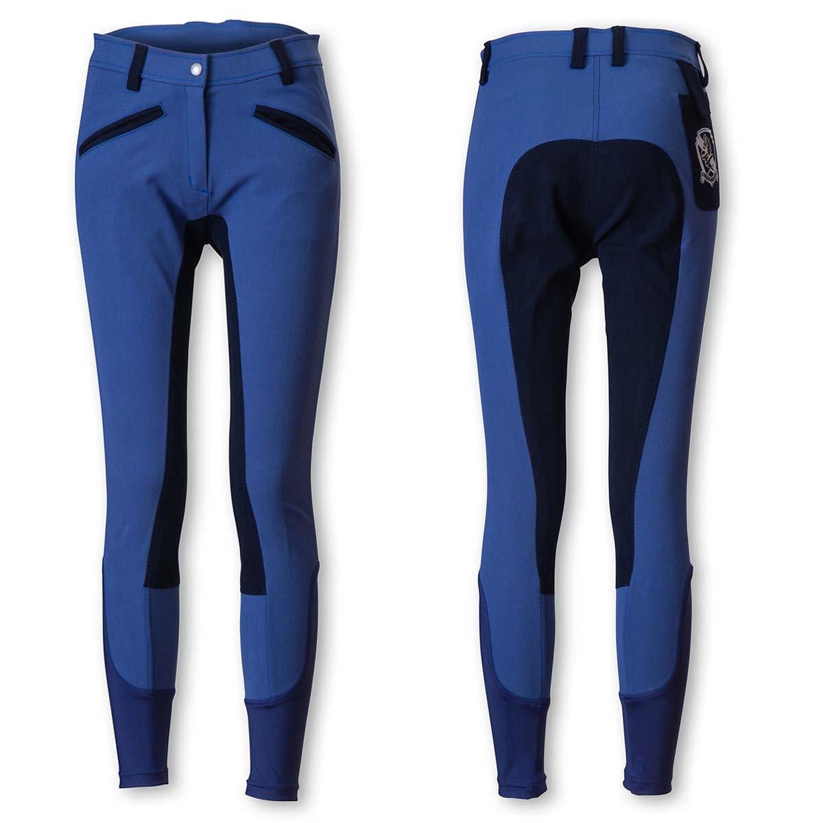 乗馬 キュロット ズボン パンツ EQULIBERTA ライディングキュロット 尻革 メンズ 乗馬用品 馬具 B077JC4MCZ Small|ブルー/ネイビー ブルー/ネイビー Small