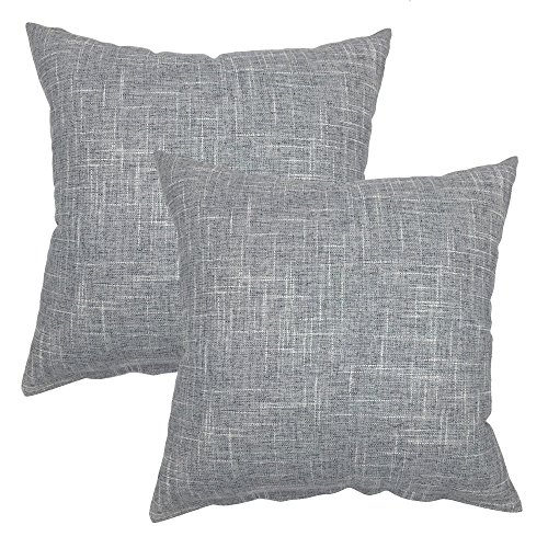 YOUR SMILE Solid Color Decorative Cotton Linen Throw Pillow Case Cushion Cover Pillowcase for Couch Sofa Bed,18 x 18 Inches (Grey,Set of 2)