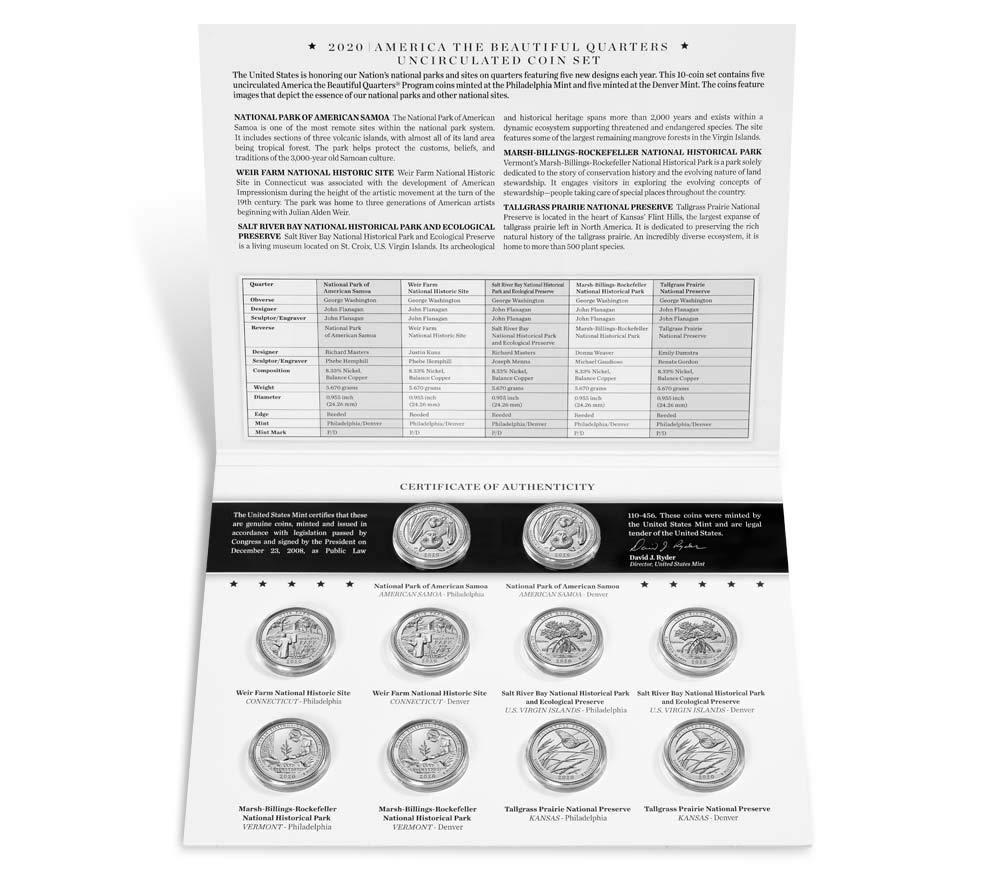 B086BG8MGD 2020 P, D National Park Quarter 10 Coin Set Special Issue Uncirculated 61RrVMFC97L