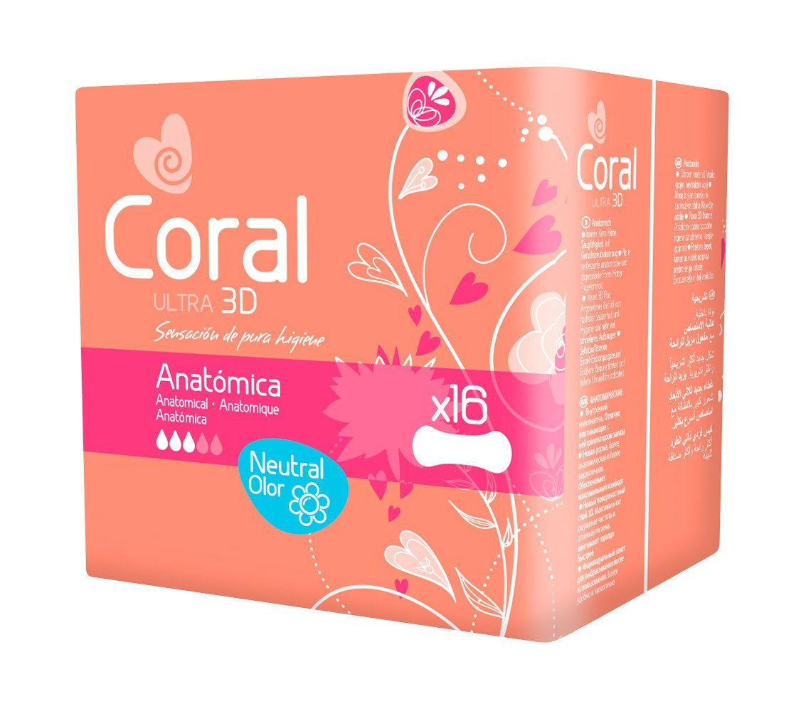 Coral Compresa Femenina Ultra Anatómica 3D - 16 Compresas: Amazon.es ...