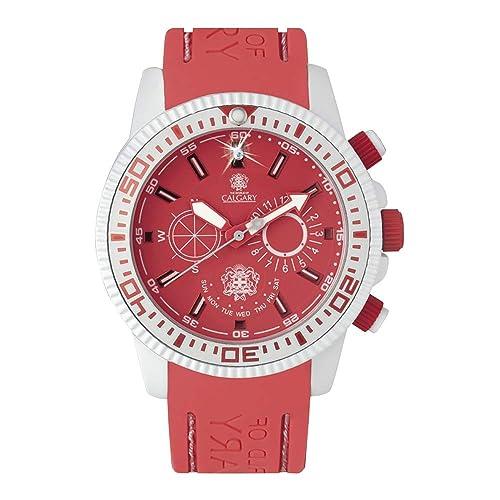 Relojes Calgary Coral Bay, Reloj clásico para Mujer, Correa Coral de Silicona, Esfera Blanca y Coral: Amazon.es: Zapatos y complementos