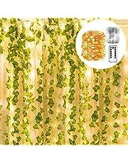 POCKETMAN Girlanda ze sztucznych roślin z 100 łańcuchami świetlnymi LED, do domu, kuchni, ogrodu, biura, na wesele, dekoracja ścienna, do biura, na wesele, dekoracja ścienna, 12 sztuk w opakowaniu