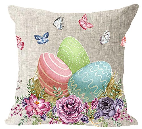 """Happy Easter colored eggs butterflies Colored cotton Linen Square Throw Pillow Case Decorative Cushion Cover Pillowcase Sofa 18""""x 18"""""""