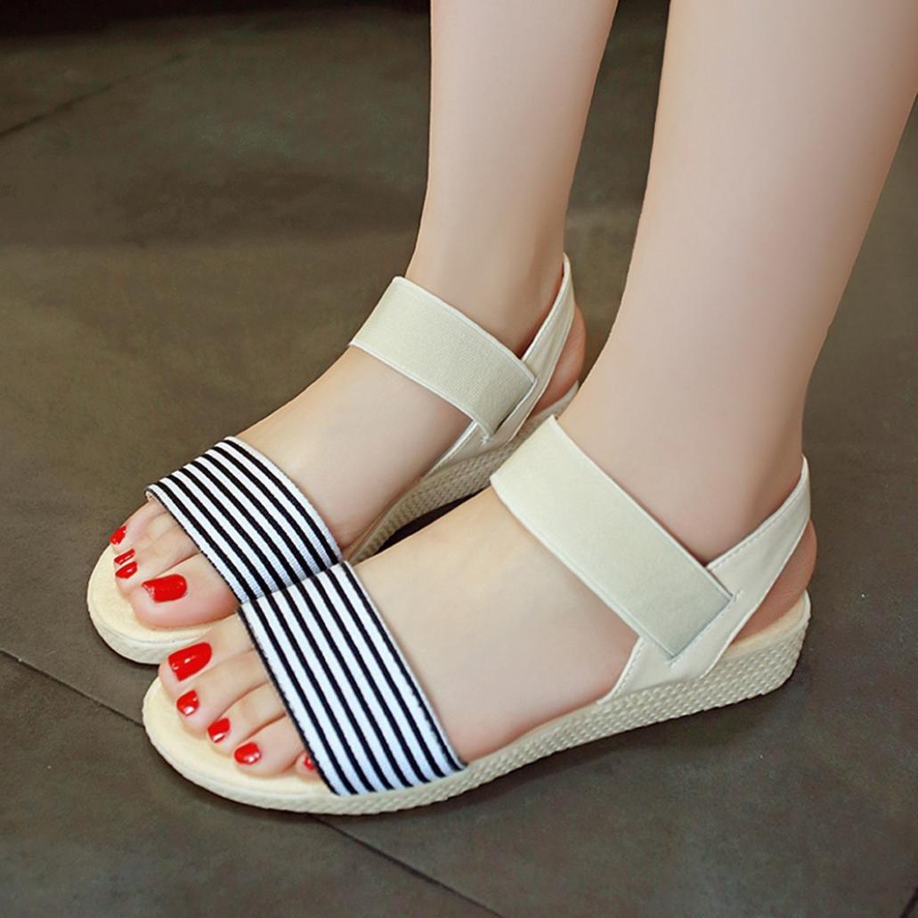 Damen Fläche Sandalen T-strap Sommer Strandschuhe Freizeit Schuhe Zehentrenner