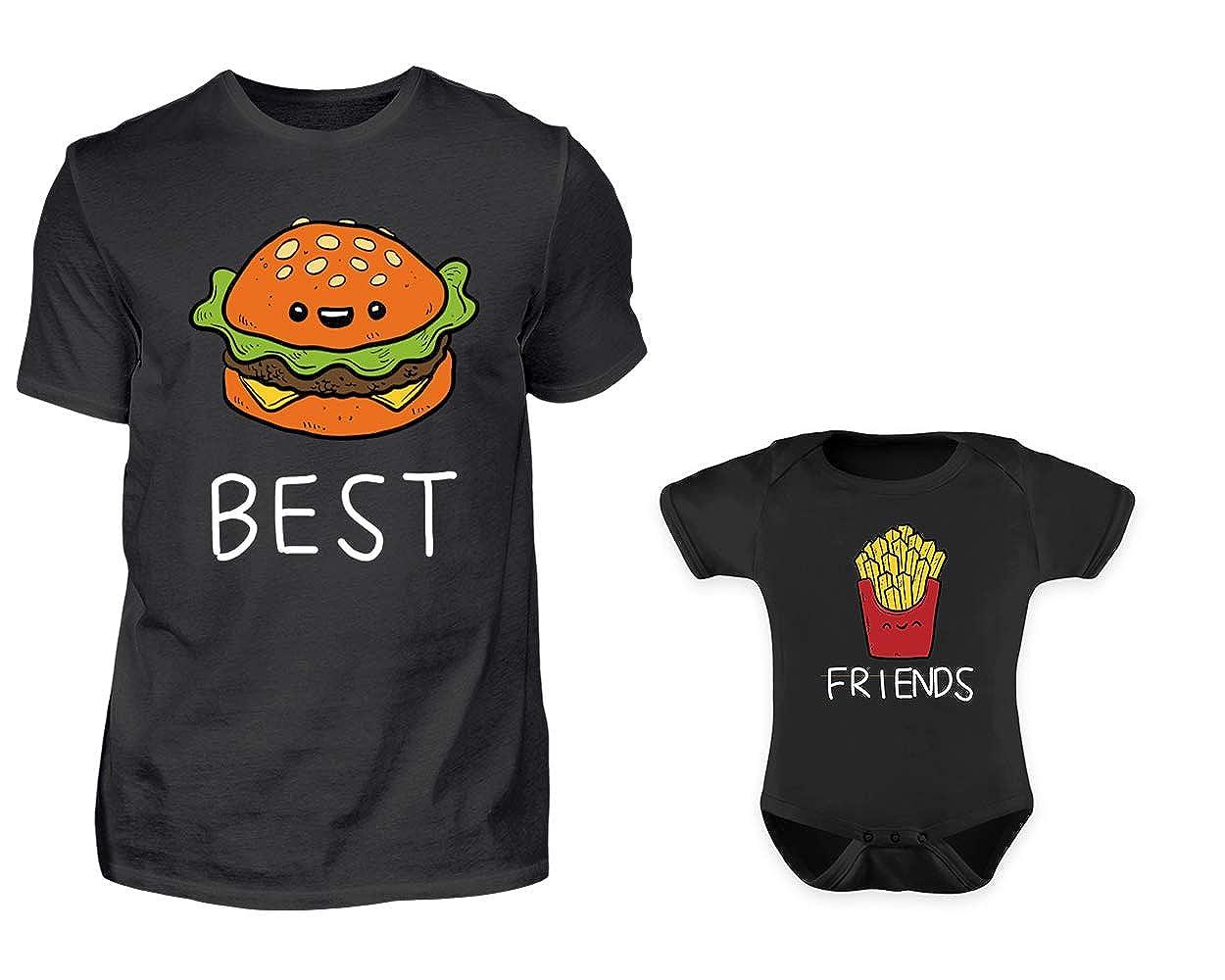Vater Baby Partnerlook Tshirt Baby Body Strampler Set Best Friends Burger Und Pommes Rundhals Papa Kind Partner Look Für Herren Und Jungs Oder Mädchen