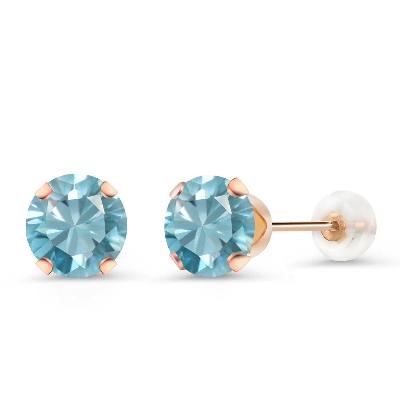 2.40 Ct Round 6mm Blue Zircon 10K Rose Gold Stud Earrings