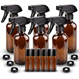 6 Pack Glass Spray Bottle, Wedama Amber 16oz Glass Spray Bottle Set & 6 pack 10ml Essential Oil Roller Bottles for…