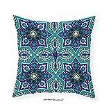 VROSELV Custom Cotton Linen Pillowcase Arabian Decor Collection Arabesque Pattern Traditional Islamic Art Geometric Decorative Persian Damask Art Bedroom Living Room Dorm Cobalt Blue Teal 18''x18''