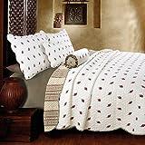 [Paisley Dance] 100% Hypoallergenic cotton 3 piece Reversible Paisley Quilt Set Bedroom Quilt Bedding Full/Queen Size White