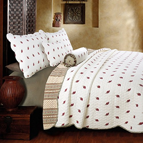 [Paisley Dance] 100% Hypoallergenic cotton 3 piece Reversible Paisley Quilt Set Bedroom Quilt Bedding Full/Queen Size White by ONITIVA