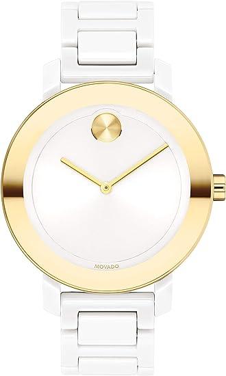 Movado Women's Stainless Steel & Ceramic Swiss Quartz Watch with Ceramic Strap, White, 16 (Model: 3600710)