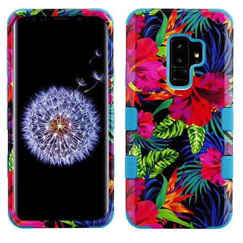 Cell Phone Electric Shock - MyBat Cell Phone Case for Samsung Galaxy S9 Plus - Electric Hibiscus/Tropical Teal Image