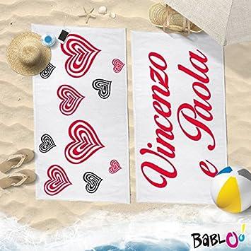 """Par de toallas Playa Love You and Me con nombres Corazones psicodélico """""""