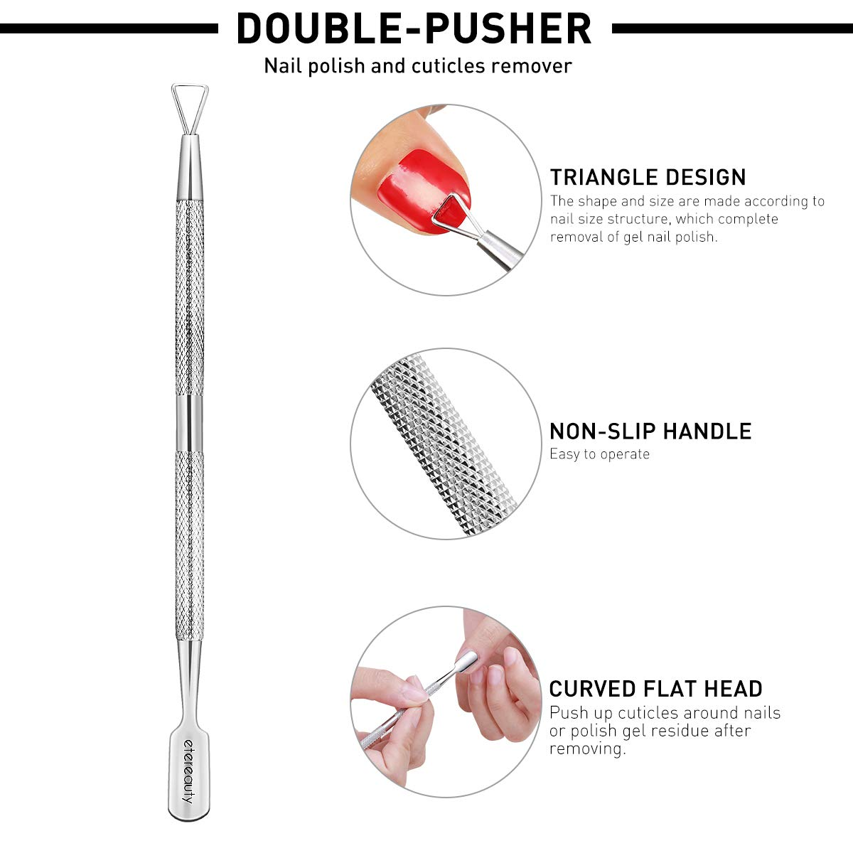 Cuticle Trimmer with Cuticle Pusher, For Fingernails and Toenails