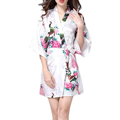 Image Unavailable. Image not available for. Color  Charming Women Bathrobe  Blossoms Peacock Kimono Silk Robes Gown-White 9a78bb98e
