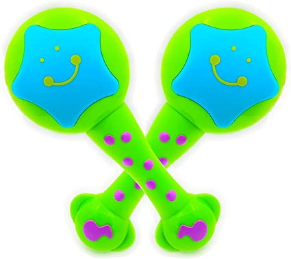 2 Pieces Plastic Maracas Handheld Shaking Toys Gift for Baby Toddlers