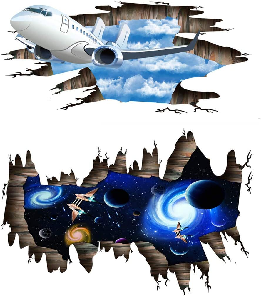 2 Sets Space Galaxy Spaceship Wall Sticker for Kids Room Decor, Outer Space Galaxy Planet Wall Decals for Bedroom Living Room Decor, Outer Space Spaceship Wall Mural for Kids(Galaxy Spaceship)
