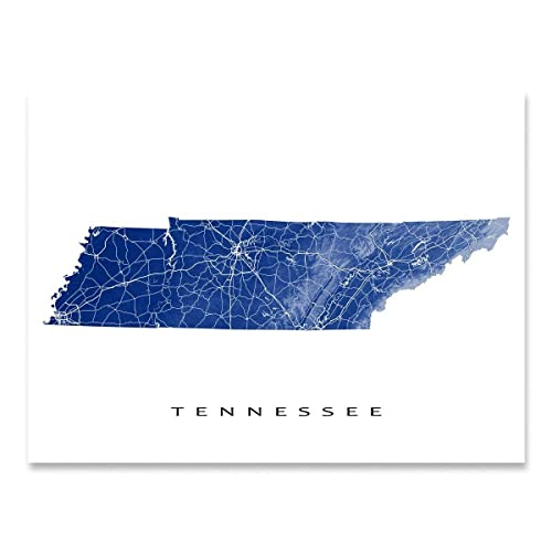 image about Printable Map of Tennessee called : Tennessee Map Artwork Print, TN Region Poster, United states of america
