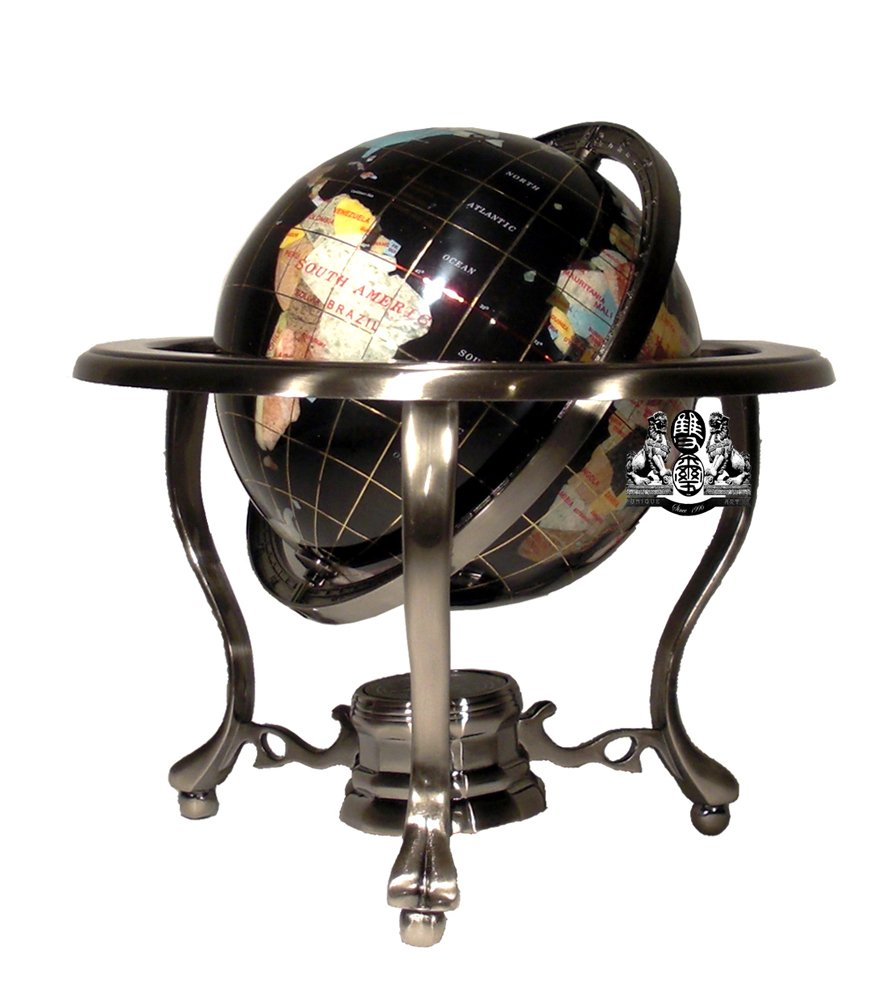 Unique Art 10-Inch Tall Table Top Black Onyx Ocean Gemstone World Globe with Silver Tripod Stand