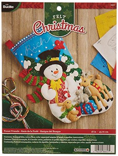 Bucilla 18-Inch Christmas Stocking Felt Applique Kit, 86657 Forest (Snowman Felt Stocking Kit)