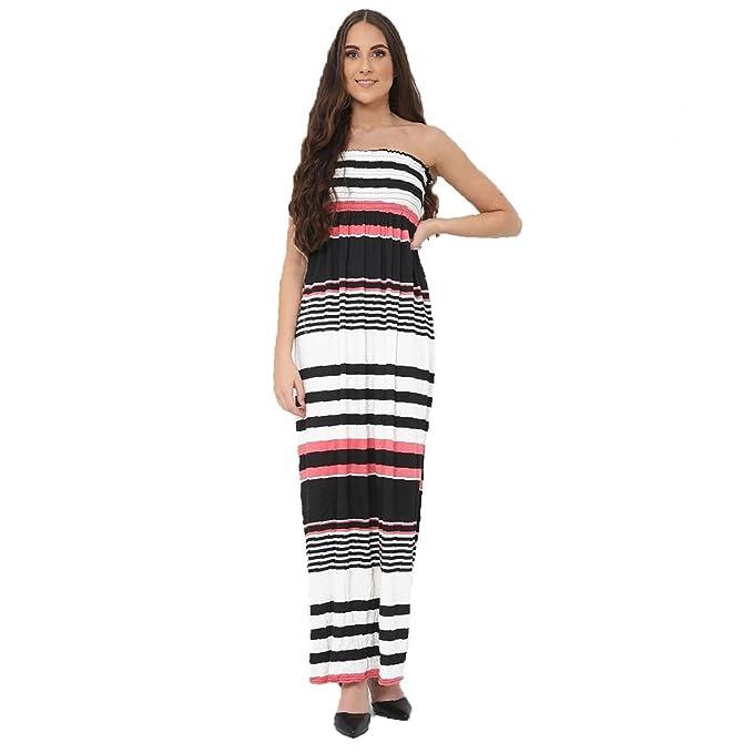 Candid Styles - Vestito - Senza maniche - Donna Black Pink Stipe S M 8 4d0cb9d3755