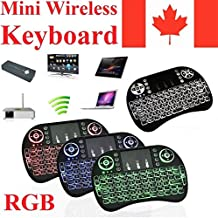 2018 NEWEST CIBN i8+ Mini Wireless Touch Keyboard Handheld Remote, Touchpad Mouse Combo, 3 Color LED Backlit Remote Control for Android TV Box, PS3 XBOX, Raspberry Pi 3, HTPC,Windows 7,8,10.