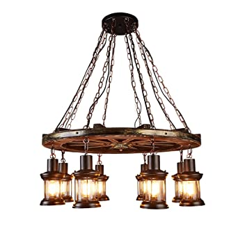 8 Köpfe Industrial Style Kronleuchter Glas Lampenschirm Loft Stil Amercian  Landschaft Vintage Kronleuchter Hölzerne Runde Rad