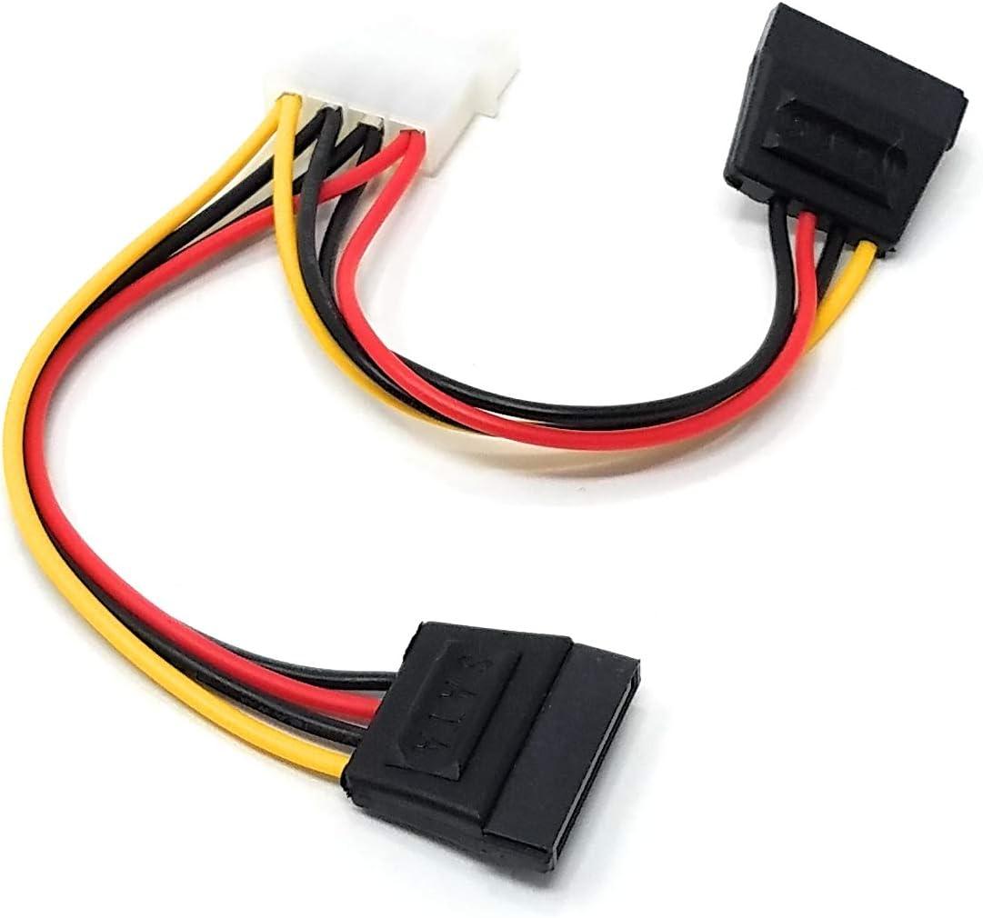 Utilizado para Alimentar Discos Duros SATA Incluyendo Unidades de Estado s/ólido Cable de alimentaci/ón de 4 Pines a 2 SATA de 15 Pines con Adaptador de LP4 a SATA SSD Maincore Molex