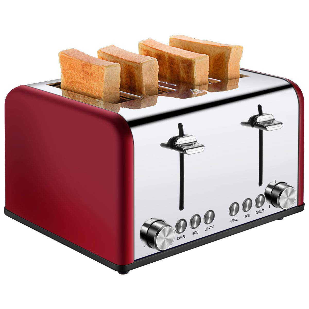 4 Slice Toaster, CUSIBOX Extra Wide Slots Stainless Steel Four Slice Toaster, BAGEL/DEFROST/CANCEL Function, 1650W, Red