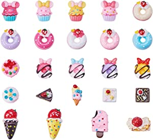 Pandahall 100 PCS Dessert Theme Food Resin Cabochons Slime Charms Flatback Cabochons for Craft Making, Doughnut, Ice Cream, Cakes