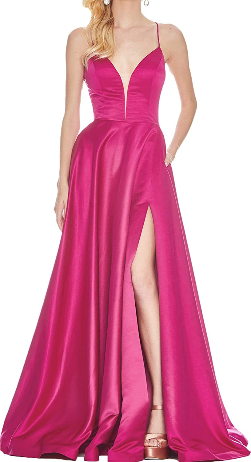 Hot Pink Rmaytiked Womens V Neck Spaghetti Strap Prom Dresses Long Side Slit Backless Formal Evening Ball Gowns with Pockets