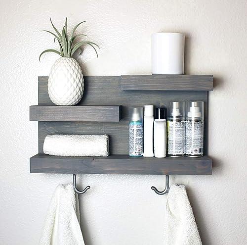 Amazon Com Gray Bathroom Shelf Organizer With Towel Hooks Custom Colors Handmade