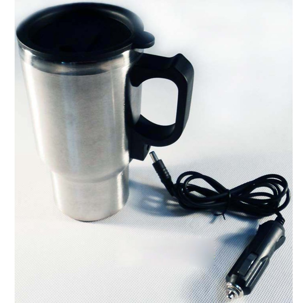 Fityle Milk Jug Frothing Cup Pitcher 350ml and In-CarThermal Heated Travel Mug Cup