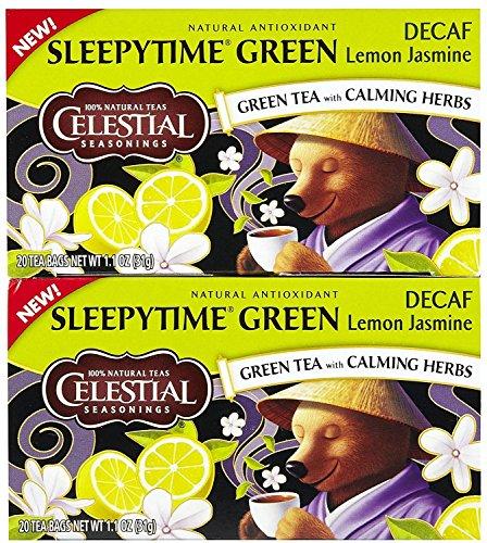 Celestial Seasonings, Green Tea, Decaf, Sleepytime, Lemon Jasmine, 1.1oz Box (Pack of 3) (Pack of