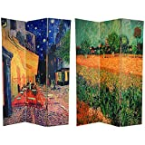 Oriental Furniture 6 ft. Tall Double Sided Works of Van Gogh Canvas Room Divider - Cafe Terrace/View of Arles