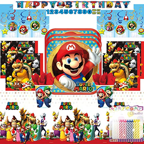Mario Brothers Party Ideas (Super Mario Bros Ultimate Birthday Party Supply Pack Serves 16: Dinner Plates, Luncheon Napkins, Cups, Table Cover, Swirl Decorations, and Birthday Banner with Birthday Candles (ULTIMATE PARTY BUNDLE for)