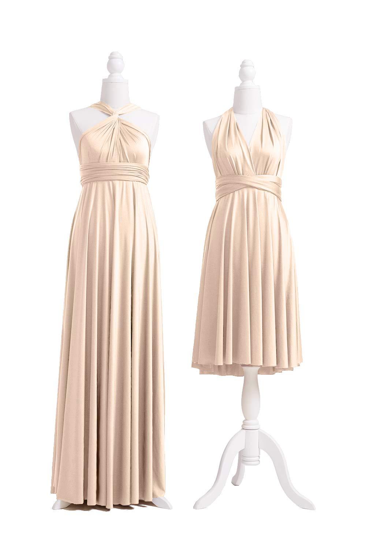72STYLES Champagne Infinity Dress with Bandeau, Convertible Dress,  Bridesmaid Dress, Long,Short, Plus Size, Multi-Way Dress, Twist Wrap Dress